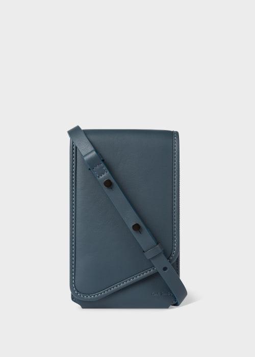 폴 스미스 Paul Smith Slate Blue Leather Phone Pouch
