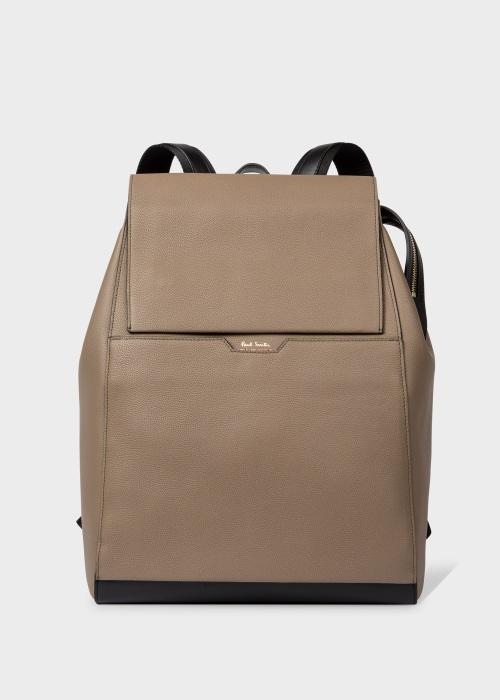 폴 스미스 Paul Smith Mens Taupe Leather Backpack With Signature Stripe Trims