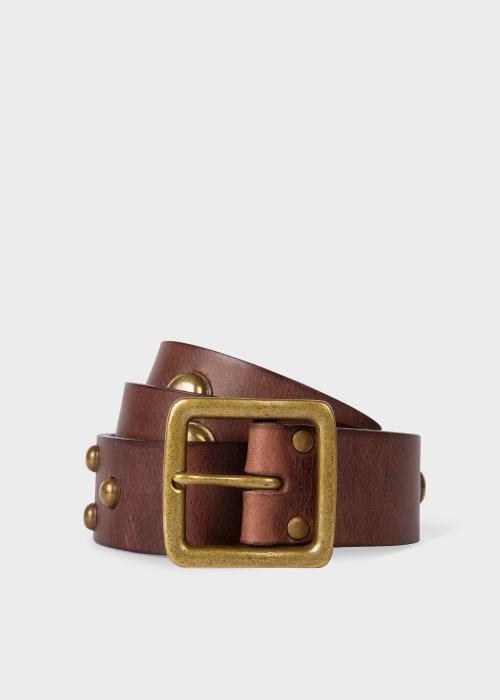 폴 스미스 Paul Smith Mens Brown Leather Belt With Studs