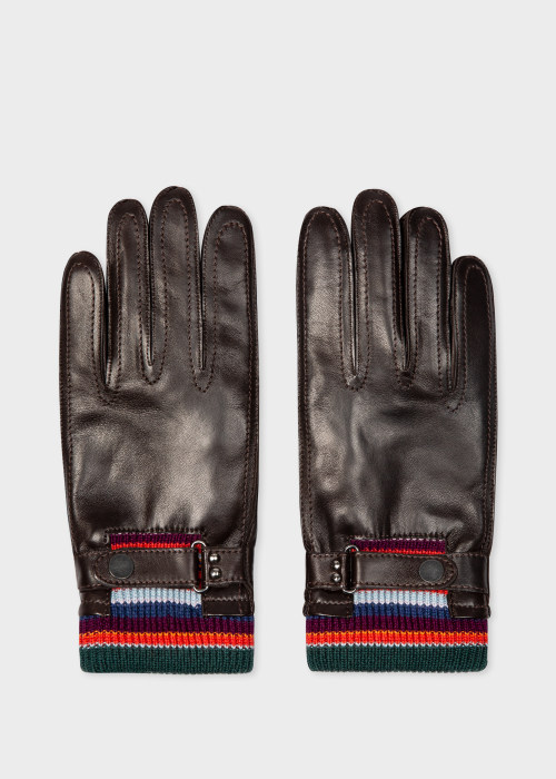 폴 스미스 Paul Smith Mens Dark Brown Leather Gloves With Artist Stripe Cuff Detail