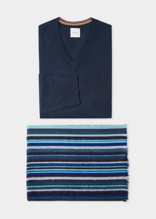 폴 스미스 Paul Smith Mens Navy V-Neck Sweater and Blue Signature Stripe Scarf Gift Set