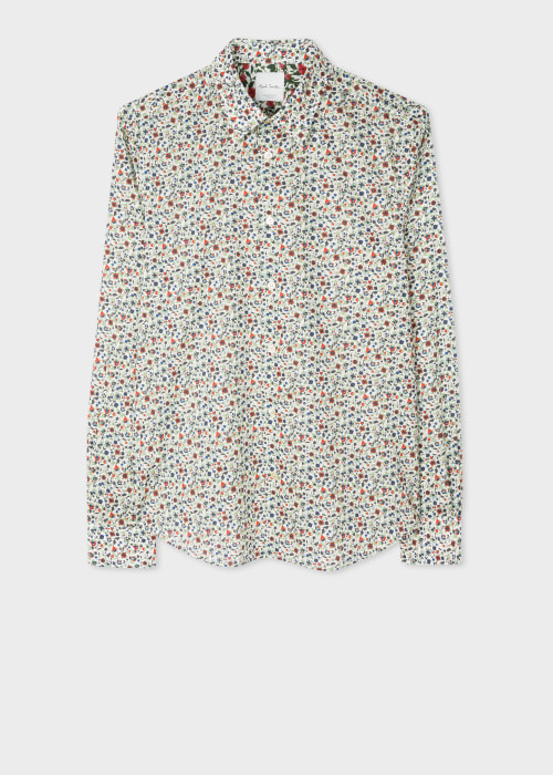 폴 스미스 Paul Smith Mens Slim-Fit White Liberty Print Cotton Shirt