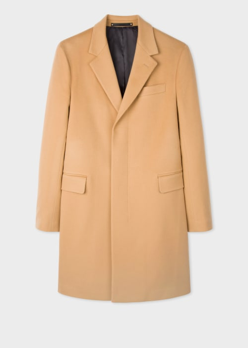 폴 스미스 Paul Smith Mens Camel Wool-Cashmere Epsom Coat