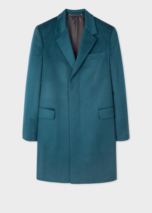 폴 스미스 Paul Smith Mens Teal Cashmere Epsom Coat