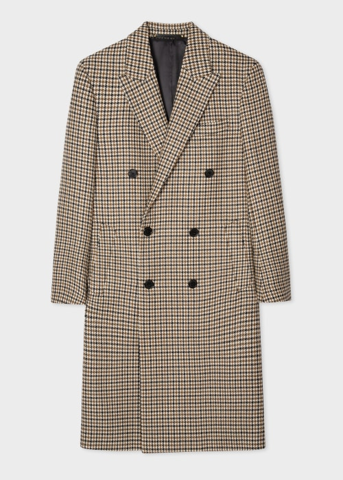 폴 스미스 Paul Smith Mens Camel Houndstooth Wool Double-Breasted Overcoat