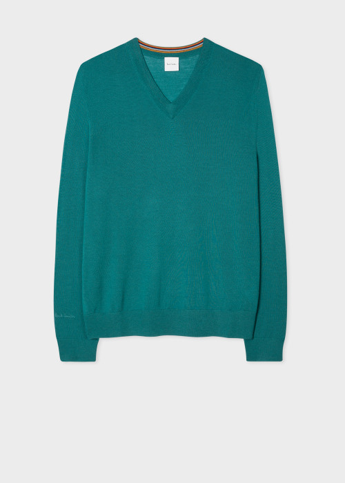 폴 스미스 Paul Smith Mens Sea Green Merino V-Neck Sweater
