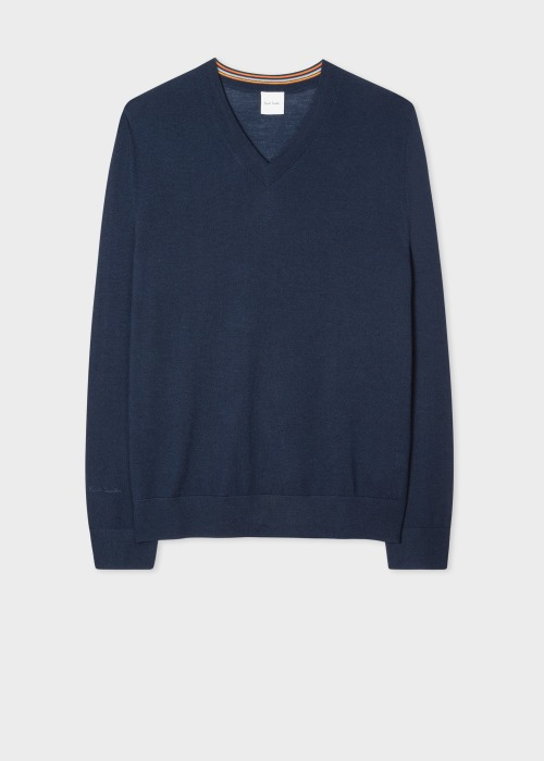 폴 스미스 Paul Smith Mens Navy Merino V-Neck Sweater