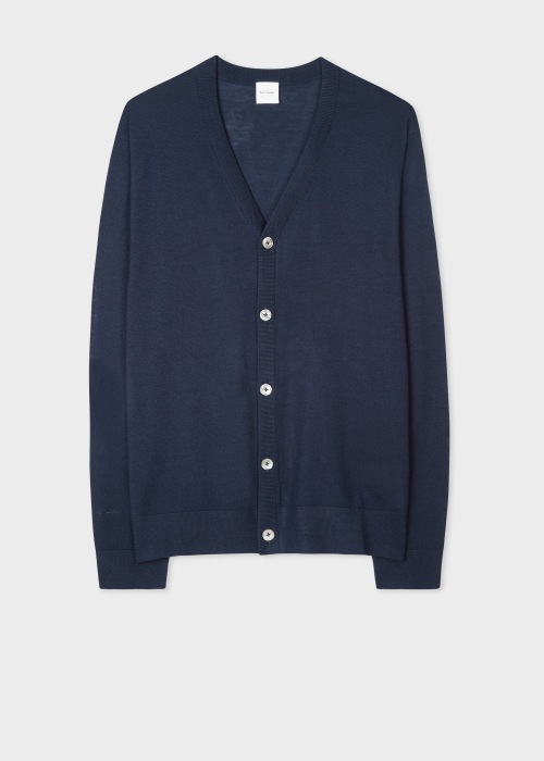 폴 스미스 Paul Smith Mens Dark Navy Merino Wool V-Neck Cardigan