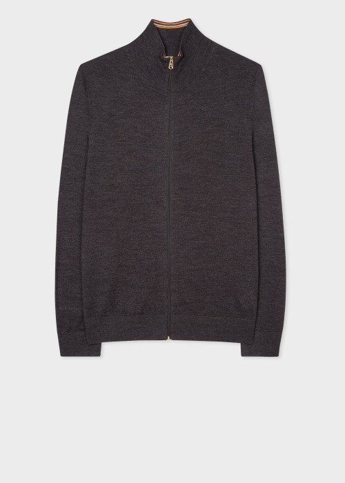 폴 스미스 Paul Smith Mens Charcoal Merino Zip Cardigan