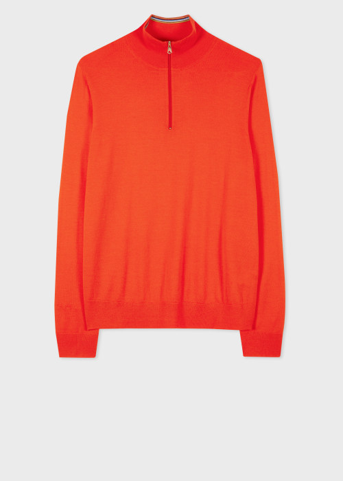 폴 스미스 Paul Smith Mens Red Merino Wool Zip-Neck Sweater