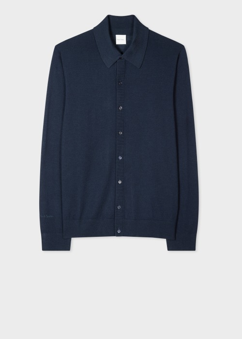 폴 스미스 Paul Smith Mens Dark Navy Merino Wool Cardigan