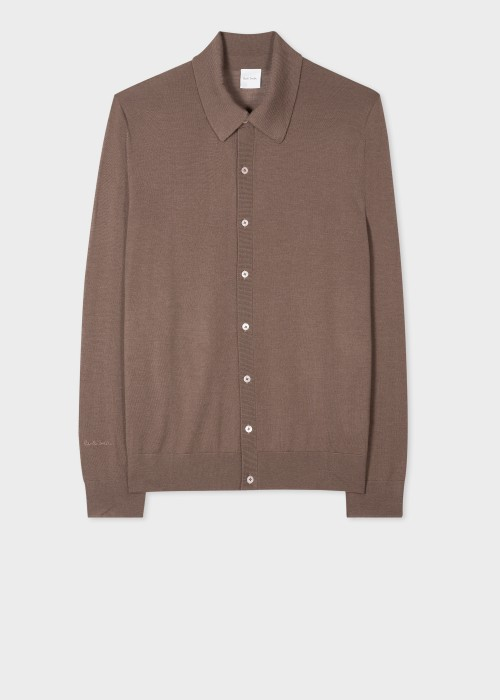 폴 스미스 Paul Smith Mens Taupe Merino Wool Cardigan
