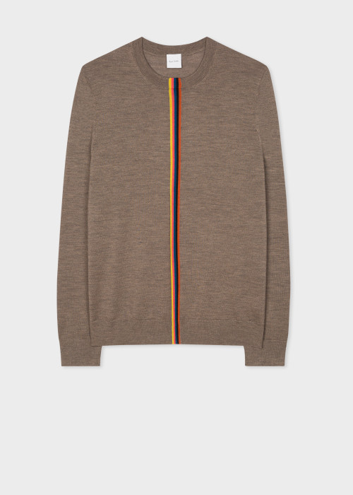 폴 스미스 Paul Smith Mens Taupe Merino Sweater With Central Artist Stripe