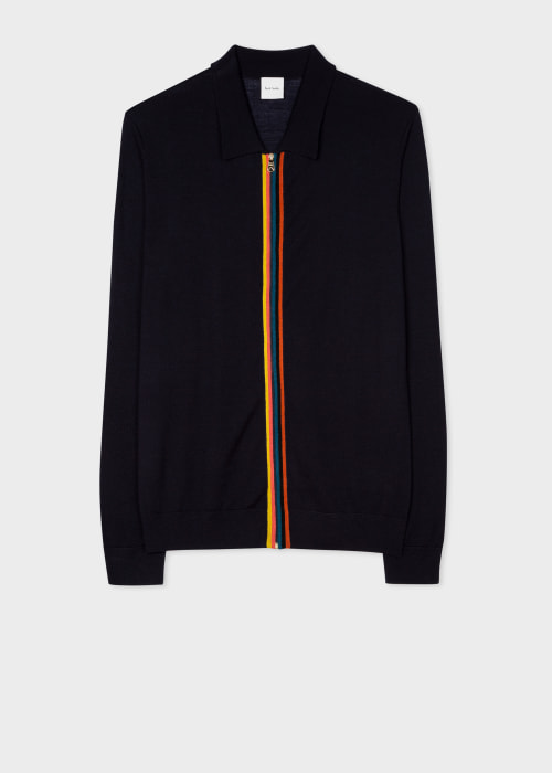 폴 스미스 Paul Smith Mens Dark Navy Merino Wool Zip-Through Collared Cardigan