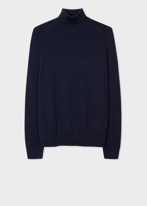 폴 스미스 Paul Smith Mens Navy Merino Roll-Neck Sweater With Signature Stripe Trim