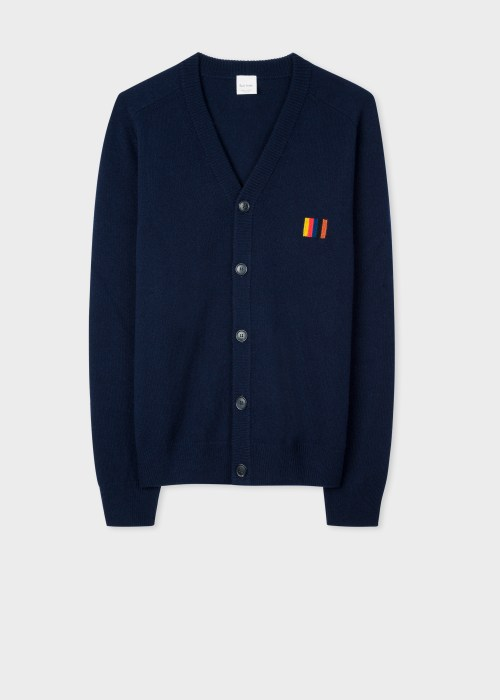 폴 스미스 Paul Smith Mens Navy Lambswool V-Neck Cardigan With Artist Stripe Trim