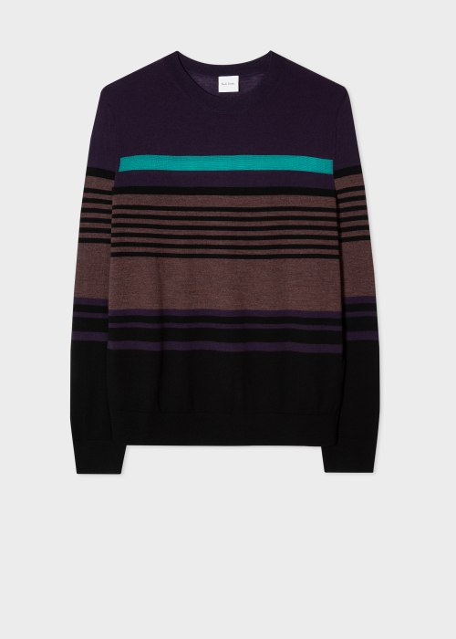 폴 스미스 Paul Smith Mens Purple Stripe Wool-Blend Sweater