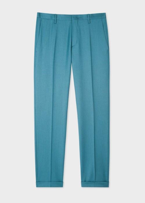 폴 스미스 Paul Smith Mens Slim-Fit Teal Wool-Cashmere Trousers