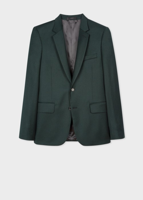 폴 스미스 Paul Smith The Soho - Tailored-Fit Dark Green Overdyed Wool-Cashmere Blazer