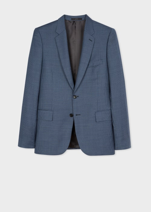 폴 스미스 Paul Smith The Soho - Tailored-Fit Blue Micro-Check Wool Blazer