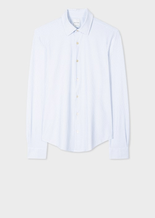 폴 스미스 Paul Smith Mens Super Slim-Fit White Geo Print Shirt