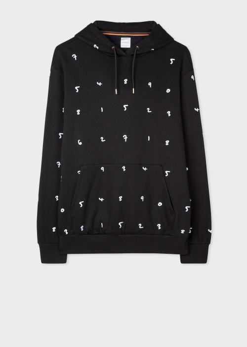 폴 스미스 Paul Smith Mens Black Embroidered Numbers Cotton-Blend Hoodie