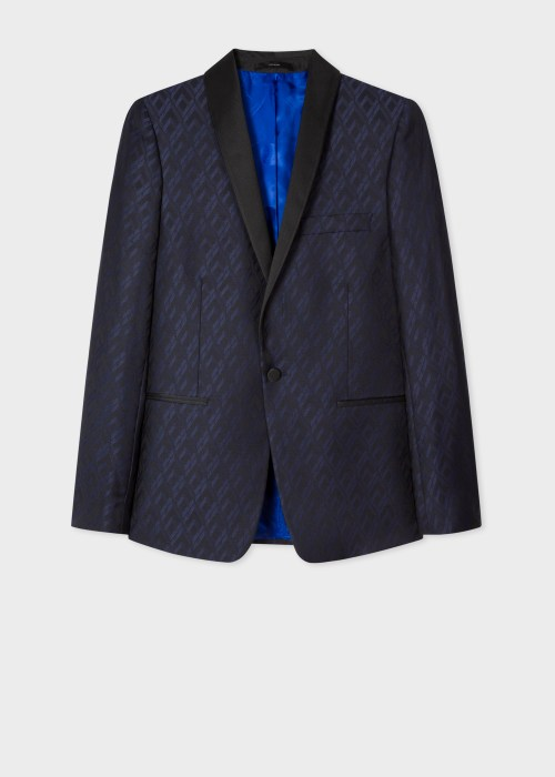 폴 스미스 Paul Smith The Soho - Tailored-Fit Navy House Jacquard Evening Blazer