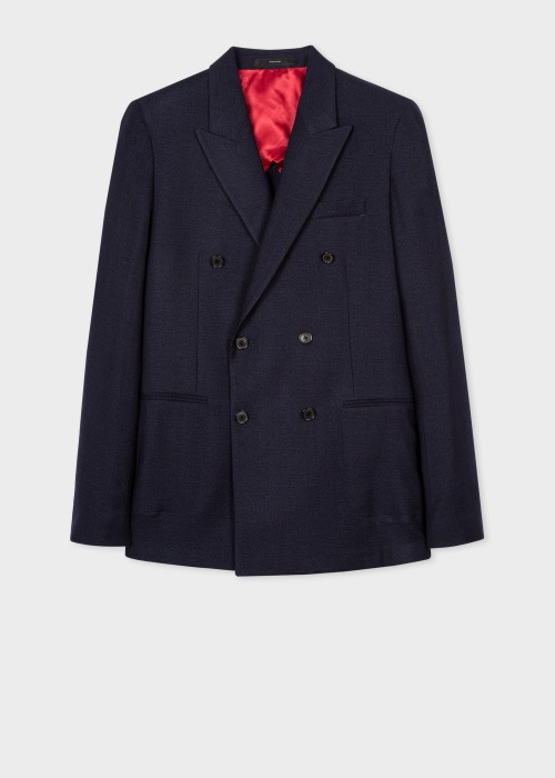폴 스미스 Paul Smith The Kensington - Slim-Fit Navy Double-Breasted Wool-Linen Blazer