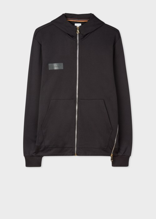 Mens Black Zip Hoodie With 폴 스미스 Paul Smith Leather Patch