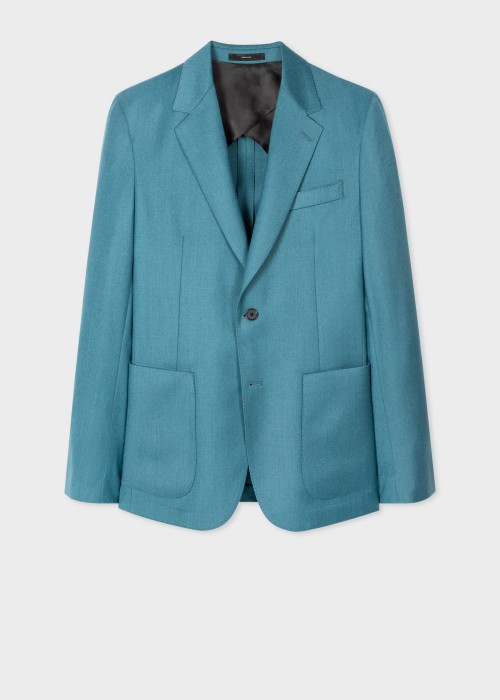 폴 스미스 Paul Smith Mens Tailored-Fit Teal Over-Dye Wool-Cashmere Blazer