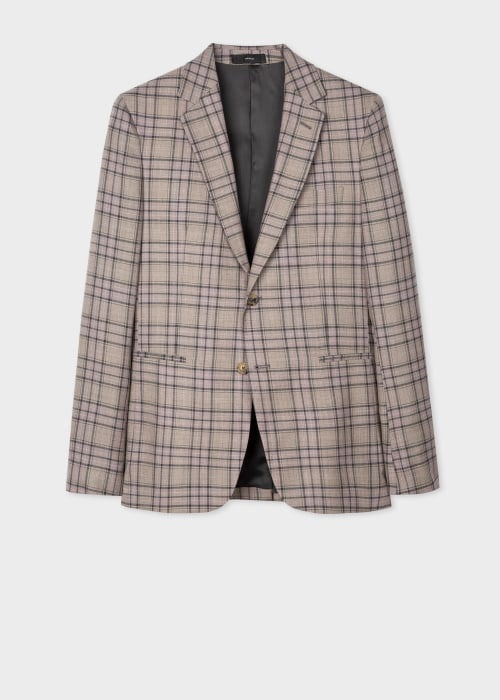 폴 스미스 Paul Smith Mens Tailored-Fit Dusky Pink Plaid Check Wool Blazer