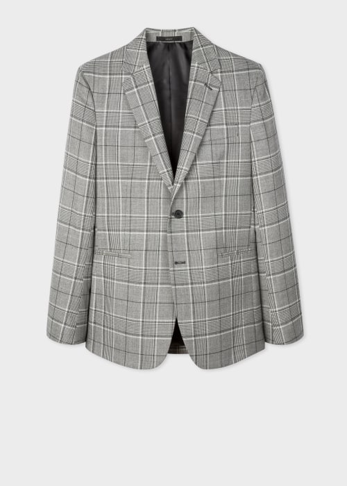 폴 스미스 Paul Smith Mens Tailored-Fit Grey Prince Of Wales Check Wool-Blend Blazer