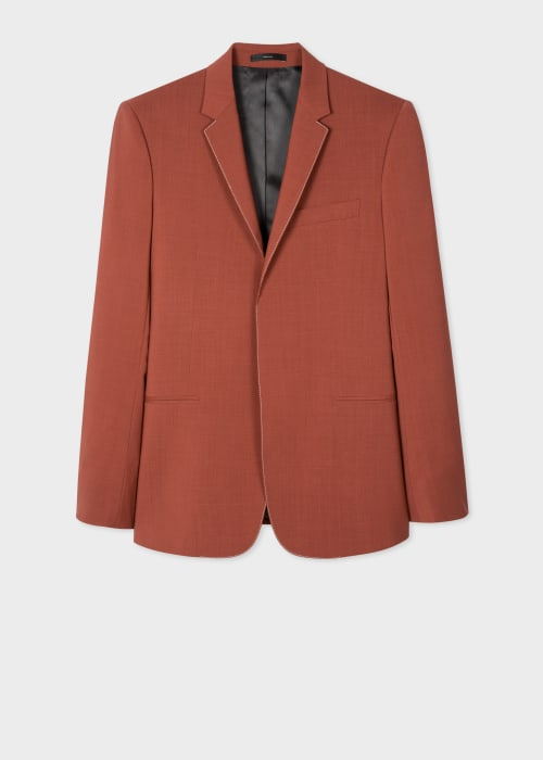 폴 스미스 Paul Smith Mens Tailored-Fit Brick Wool-Mohair Blazer