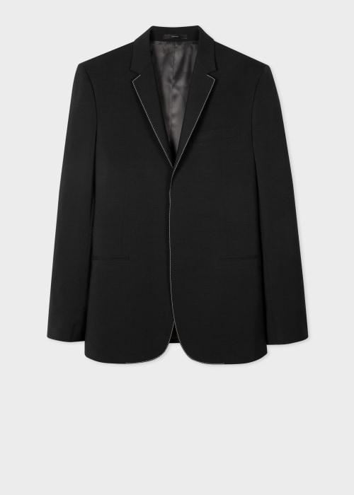 폴 스미스 Paul Smith Mens Tailored-Fit Black Wool-Mohair Blazer