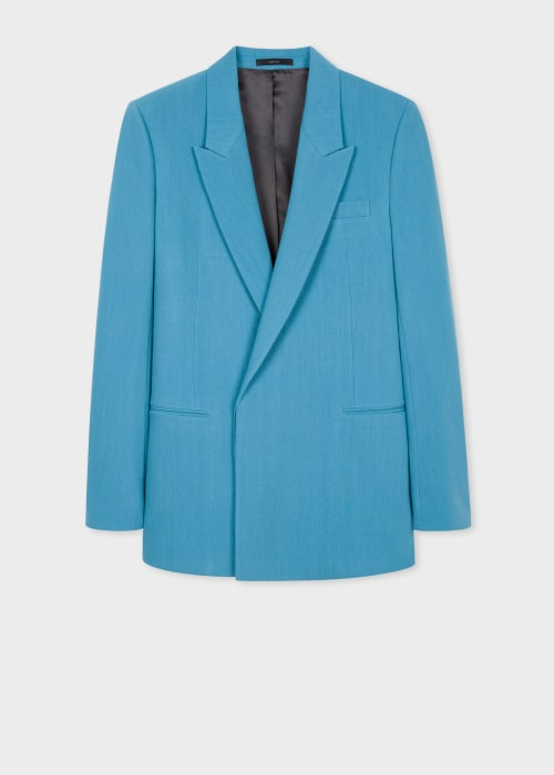 폴 스미스 Paul Smith Mens Turquoise Wool-Blend Double-Breasted Blazer