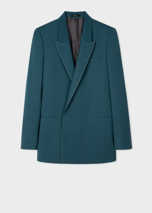 폴 스미스 Paul Smith Mens Teal Wool-Mohair Double-Breasted Blazer