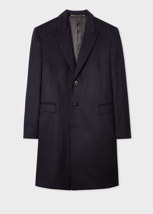 폴 스미스 Paul Smith Mens Navy Wool-Cashmere Epsom Coat