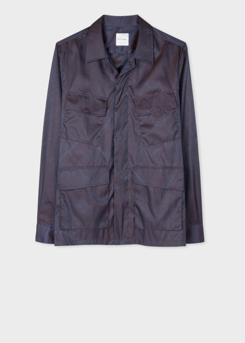 폴 스미스 Paul Smith Mens Dark Navy Stripe Nylon Shirt Jacket