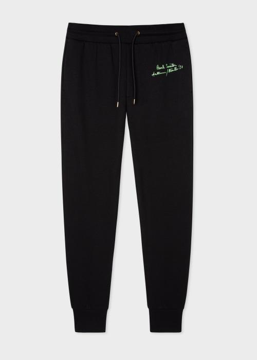 폴 스미스 Paul Smith Mens Black Cotton-Blend Spaghetti Print Sweatpants