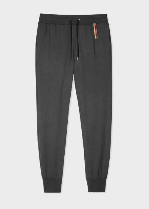 폴 스미스 Paul Smith Mens Dark Grey Artist Stripe Embroidery Wool Sweatpants