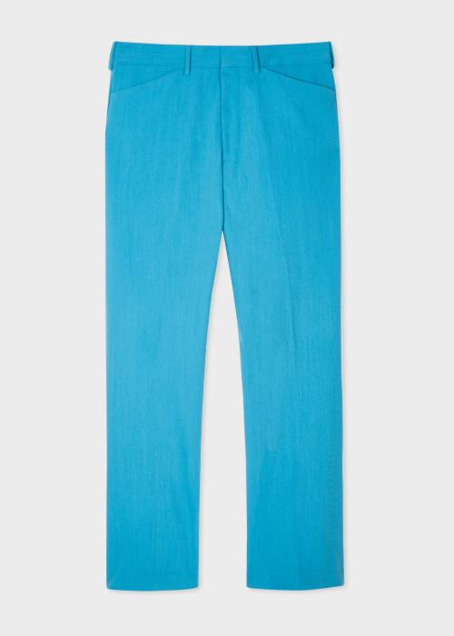 폴 스미스 Paul Smith Mens Turquoise Wool-Blend Trousers