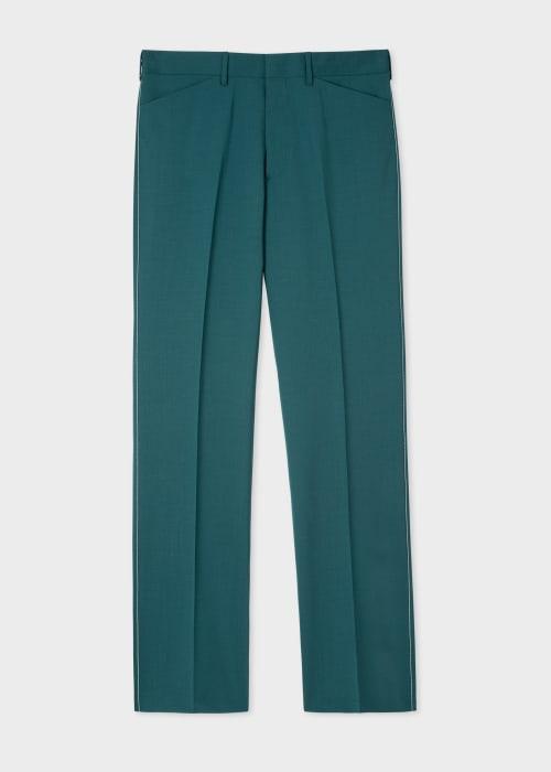 폴 스미스 Paul Smith Mens Teal Wool-Mohair Trousers
