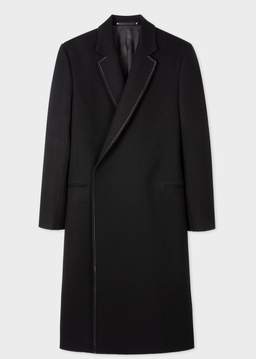 폴 스미스 Paul Smith Mens Black Felted Wool Overcoat