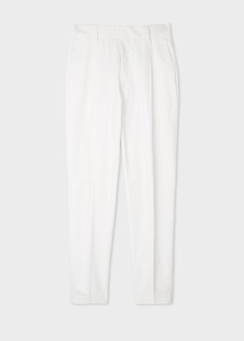 폴 스미스 Paul Smith Mens White Brushed-Cotton Pleated Trousers