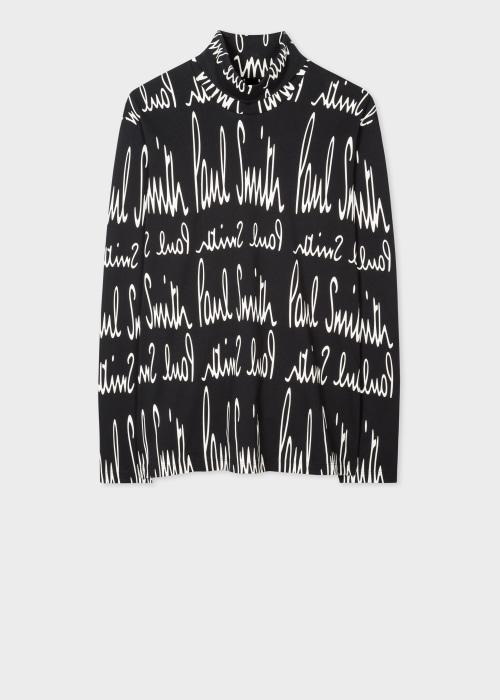 폴 스미스 Paul Smith Mens Black Archive Print Cotton Roll Neck Top