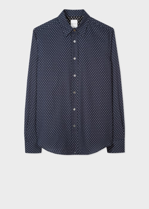 폴 스미스 Paul Smith Mens Tailored-Fit Navy Polka Dot Print Cotton Shirt