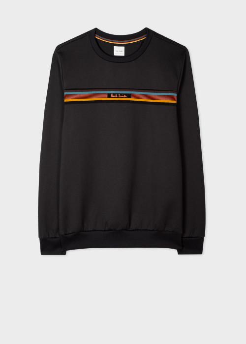 폴 스미스 Paul Smith Mens Black Cotton-Blend Sweatshirt With Artist Stripe Trims