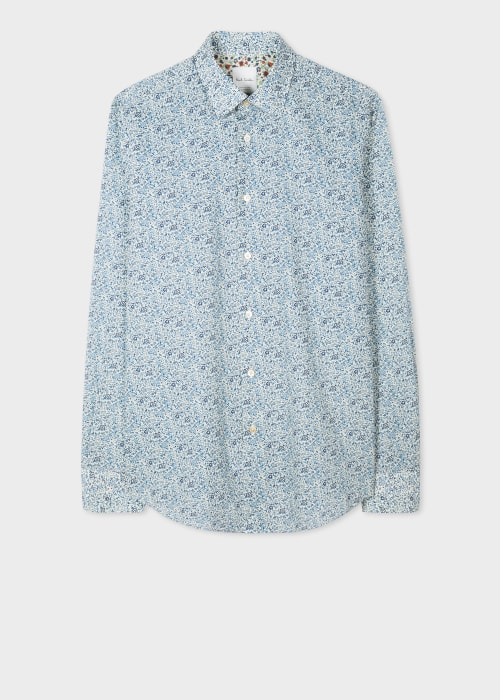 폴 스미스 Paul Smith Mens Tailored-Fit Turquoise Liberty Floral Print Shirt With Artist Stripe Cuff Lining