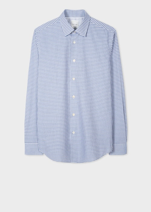 폴 스미스 Paul Smith Mens Tailored-Fit Blue Gingham Check Shirt With Contrast Cuff Lining
