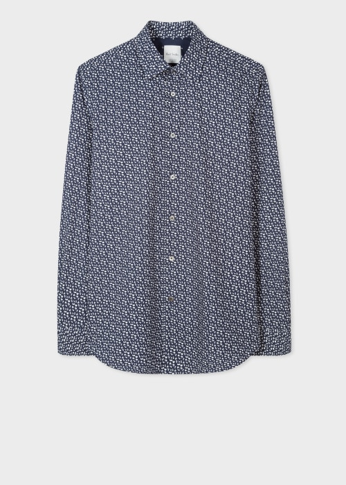 폴 스미스 Paul Smith Mens Tailored-Fit Navy Ditzy Floral Print Cotton Shirt